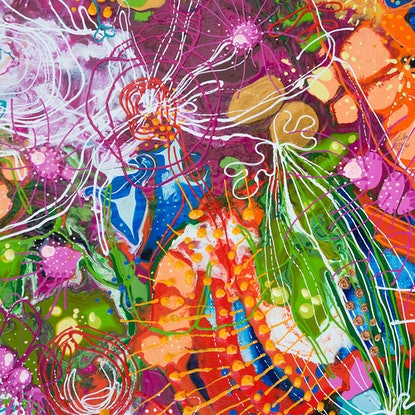 (CreativeWork) Flowing Australian Florals by Tina Dinte. Acrylic Paint. Shop online at Bluethumb.