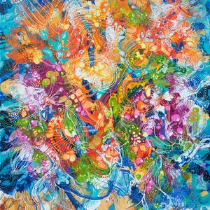 (CreativeWork) Flowing Australian Florals by Tina Dinte. arcylic-painting. Shop online at Bluethumb.