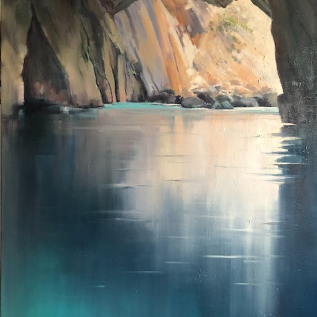 (CreativeWork) Ionian Grotto. by Vivi Palegeorge. Oil Paint. Shop online at Bluethumb.
