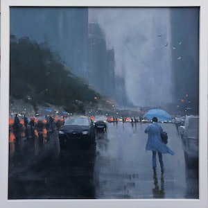 (CreativeWork) Blue Umbrella - Rainy Cityscape by Mike Barr by Mike Barr. arcylic-painting. Shop online at Bluethumb.