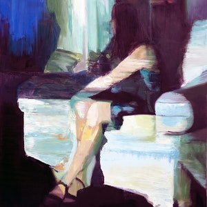 (CreativeWork) Seated Woman (Blue Moon) by Nicole Sacks. #<Filter:0x00007f1f809719a8>. Shop online at Bluethumb.