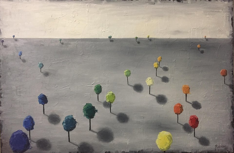 (CreativeWork) Dystopian Trees by Rohsaan McInnes. oil-painting. Shop online at Bluethumb.