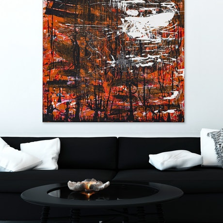 (CreativeWork) Orange Abstract  - Untitled by Annette Spinks. Acrylic Paint. Shop online at Bluethumb.