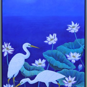(CreativeWork) Egret Moon by annelise howes. arcylic-painting. Shop online at Bluethumb.