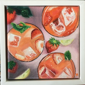 (CreativeWork) Strawberry Cocktail by Irina White. oil-painting. Shop online at Bluethumb.