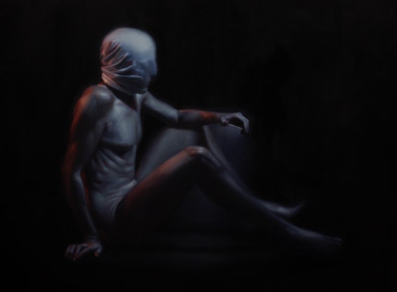 (CreativeWork) Hostage by Michael Simms. Oil Paint. Shop online at Bluethumb.
