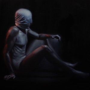 (CreativeWork) Hostage by Michael Simms. oil-painting. Shop online at Bluethumb.