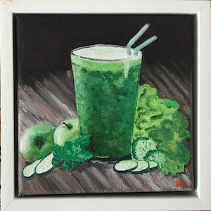(CreativeWork) Green Cocktail by Irina White. oil-painting. Shop online at Bluethumb.