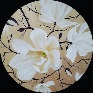 (CreativeWork) Magnolia 2 by Googie Ann. arcylic-painting. Shop online at Bluethumb.