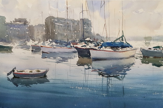 (CreativeWork) Boatyard Sydney Harbour by Chan Dissanayake. Watercolour Paint. Shop online at Bluethumb.