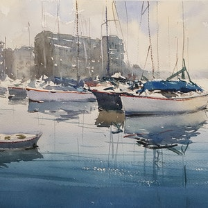 (CreativeWork) Boatyard Sydney Harbour by Chan Dissanayake. watercolour. Shop online at Bluethumb.