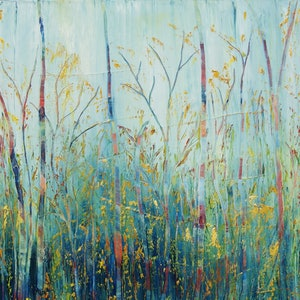 (CreativeWork) Colourful Forest by Corinne Young. oil-painting. Shop online at Bluethumb.