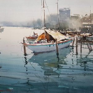 (CreativeWork) Boats in Forster NSW by Chan Dissanayake. watercolour. Shop online at Bluethumb.