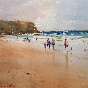 (CreativeWork) Gowrie Beach NSW by Chan Dissanayake. watercolour. Shop online at Bluethumb.
