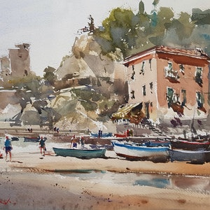 (CreativeWork) Monterosso  Vista, Italy  by Chan Dissanayake. watercolour. Shop online at Bluethumb.