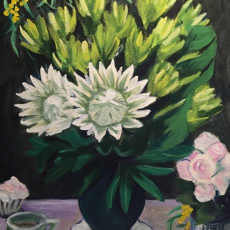 (CreativeWork) Proteas in Vase by John Klein. Acrylic Paint. Shop online at Bluethumb.