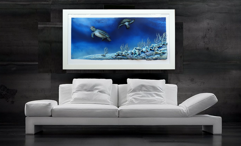 "(CreativeWork) ""Reef Sanctuary"" by Petra Meikle de Vlas. mixed-media. Shop online at Bluethumb."