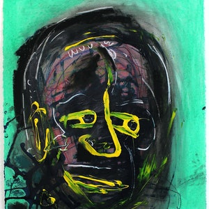 (CreativeWork) Mr Eclipse by Joel Cunningham. mixed-media. Shop online at Bluethumb.