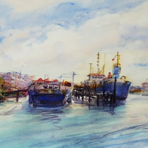 (CreativeWork) Newstead Wharves Brisbane by TONY WALKER. watercolour. Shop online at Bluethumb.