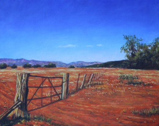 (CreativeWork) Old Gate Near The Flinders Ranges by Craig Taylor. Oil Paint. Shop online at Bluethumb.