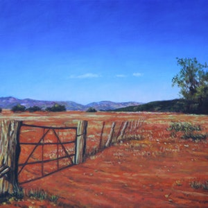 (CreativeWork) Old Gate Near The Flinders Ranges by Craig Taylor. oil-painting. Shop online at Bluethumb.
