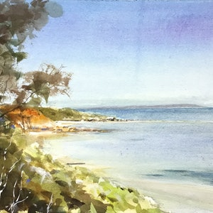 (CreativeWork) Half Moon Bay ,  Black Rock , Victoria by Geoff Stanistreet. watercolour. Shop online at Bluethumb.