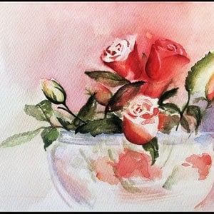 (CreativeWork) Rosey Glow by Lucinda Leveille. watercolour. Shop online at Bluethumb.