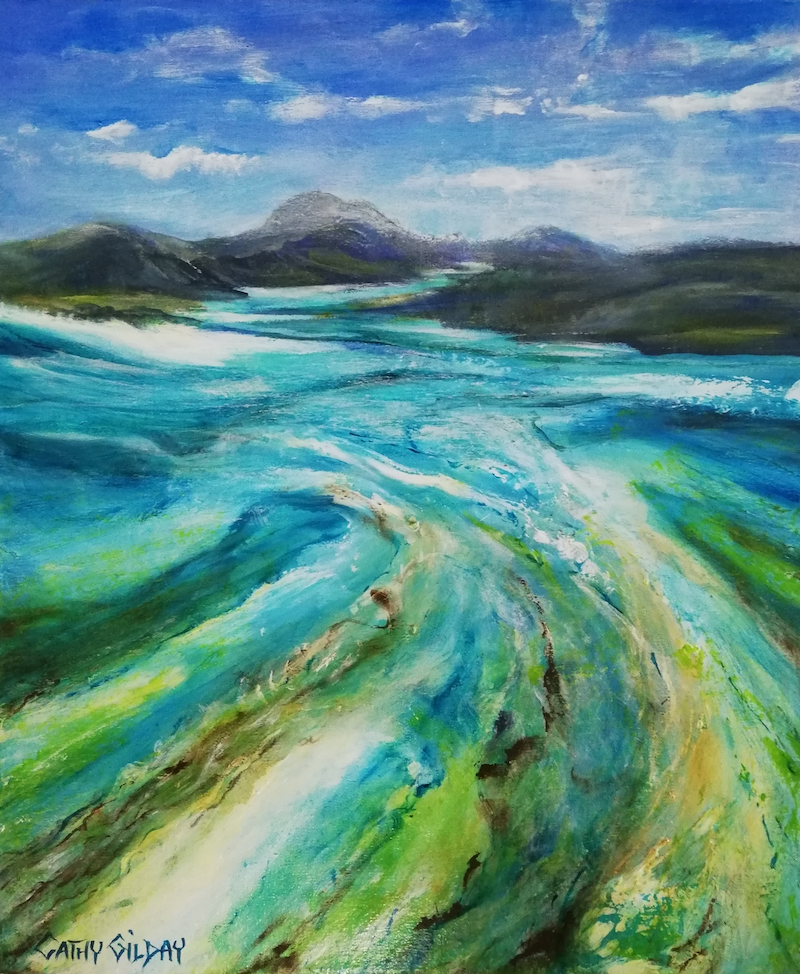 (CreativeWork) Island Wonders by Cathy Gilday. acrylic-painting. Shop online at Bluethumb.