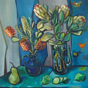 (CreativeWork) Still Life with Proteas and Pear by Katerina Apale. oil-painting. Shop online at Bluethumb.