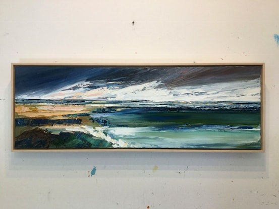 (CreativeWork) Ebb and Flow by Katie Wyatt. Oil Paint. Shop online at Bluethumb.