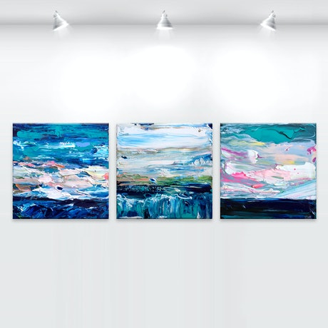 (CreativeWork) Coastal no.41 - triptych by Tatiana Georgieva. Acrylic Paint. Shop online at Bluethumb.