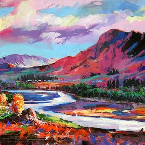 (CreativeWork) Tuki Tuki River by Jos Coufreur. arcylic-painting. Shop online at Bluethumb.