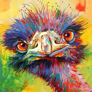 (CreativeWork) Emu 46 by Jos Coufreur. arcylic-painting. Shop online at Bluethumb.