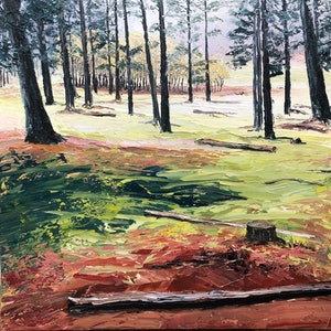 """(CreativeWork) """"Kuitpo Forest 1"""" by Sarah McDonald. oil-painting. Shop online at Bluethumb."""