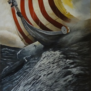 (CreativeWork) Intrepid Seafarer by Evelyn James. arcylic-painting. Shop online at Bluethumb.