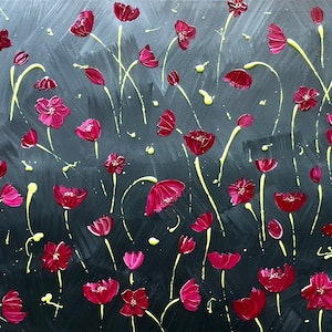(CreativeWork) Light out of the darkness - contemporary modern art, poppies by Debra Ryan. mixed-media. Shop online at Bluethumb.