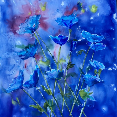(CreativeWork) Blue Poppies  by Ruth Bye. Watercolour Paint. Shop online at Bluethumb.