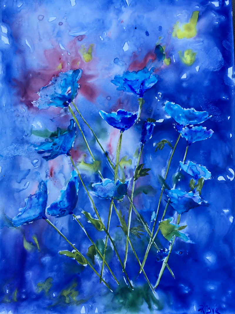 (CreativeWork) Blue Poppies  by Ruth Bye. watercolour. Shop online at Bluethumb.