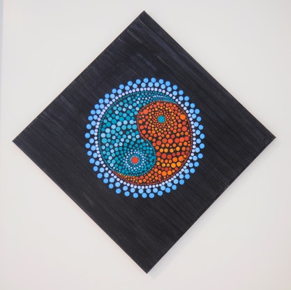 (CreativeWork) Mandala Ying Yang by Natasha McGhie. Acrylic Paint. Shop online at Bluethumb.