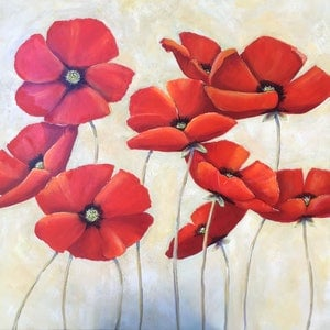 (CreativeWork)  Red Poppies in bloom  by Ron Brown. arcylic-painting. Shop online at Bluethumb.