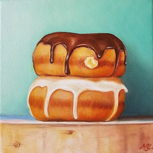 (CreativeWork) Two Donuts - Still life oil painting  by Natasha Junmanee. oil-painting. Shop online at Bluethumb.
