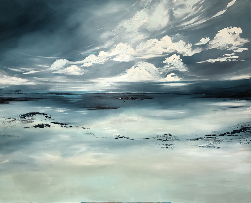 (CreativeWork) Drifting Clouds (153x122cm)  by Kat Las. arcylic-painting. Shop online at Bluethumb.