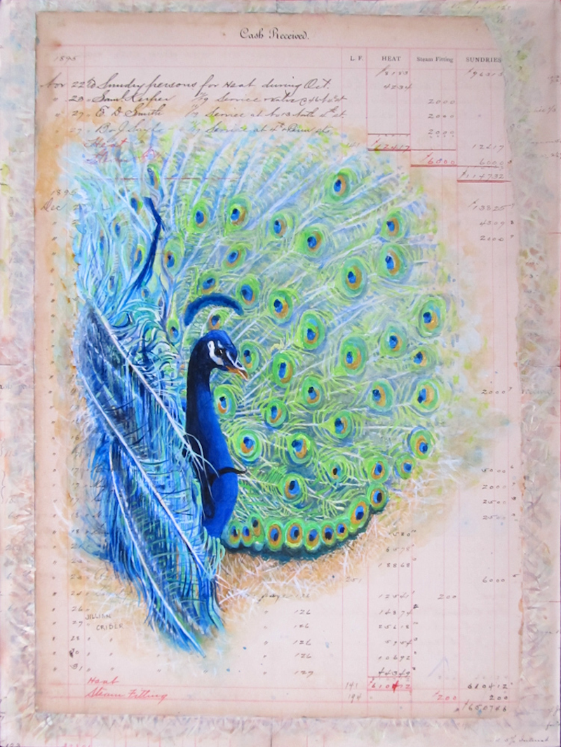 (CreativeWork) Meet Bob - The Peacock by Jillian Crider. arcylic-painting. Shop online at Bluethumb.
