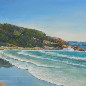(CreativeWork) Yamba Headland by Anne Strambi. oil-painting. Shop online at Bluethumb.