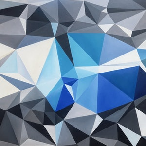 (CreativeWork) Blue mountains - original geometrical abstract artwork, ready to hang by Yelena Revis. Oil Paint. Shop online at Bluethumb.