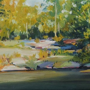 (CreativeWork) Cascades by Glenn Miller. oil-painting. Shop online at Bluethumb.