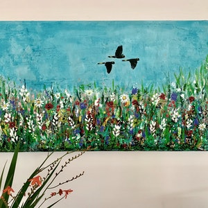 (CreativeWork) Wild Flowers Grow by Emma Wreyford. arcylic-painting. Shop online at Bluethumb.