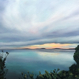 (CreativeWork) Sunset seascape by maria radun. oil-painting. Shop online at Bluethumb.