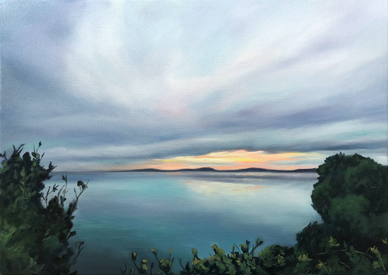 (CreativeWork) Sunset seascape by maria radun. Oil Paint. Shop online at Bluethumb.