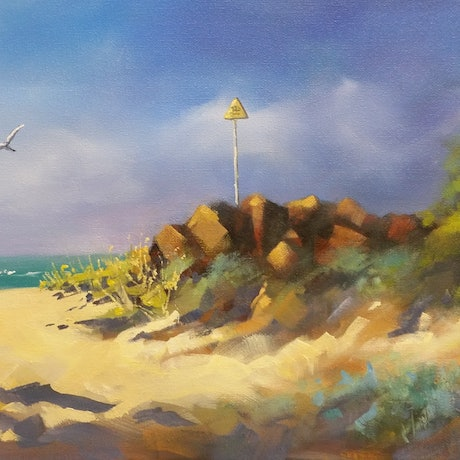 (CreativeWork) Early Morning, Lorne by Jo Taylor. Oil Paint. Shop online at Bluethumb.